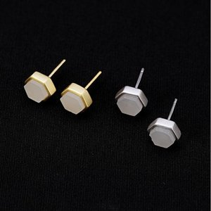 Stud Natural Hetian White Jade Geometric Hexagon Earrings Chinese Classical Style Small Exquisite Women's Silver Jewelry