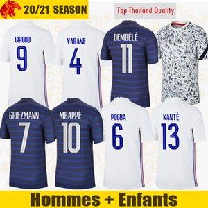 يورو 2021 فرنسا قمصان كرة القدم MBAPPE 20 21 GRIEZMANN POGBA FEKIR فرنسا PAVARD KANTE قميص كرة القدم HERNANDEZ ZIDANE رجل جيرسي طقم أطفال
