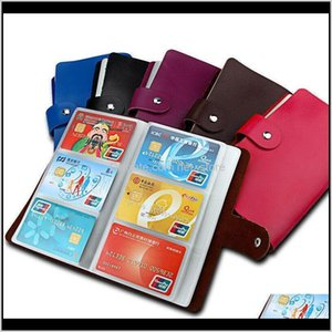 Cow Leather Bank Credit Holder Wallet Purse For Women Men Hold 90 Cards Nss7U Holders Fqbnr