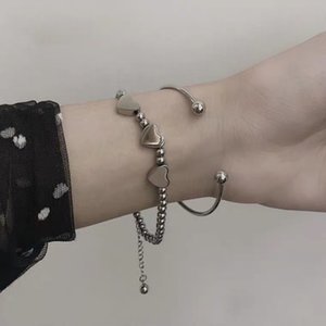 Other Bracelets INS Japan and South Korea personality all-match love women simple cold wind students heart bracelet couple two matching silver department
