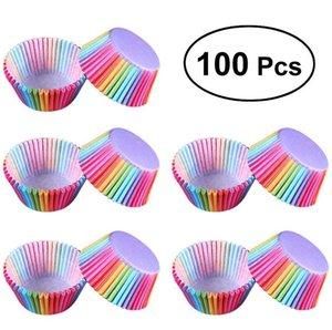 100 قطع كب كيك ورقة rainbow بطانة كب كيك الكعك كأس كعكة توبر الخبز صينية المطبخ اكسسوارات المعجنات أدوات الديكور