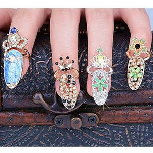 New fashion simple joint nail ring alloy jewelry crown with diamond ring