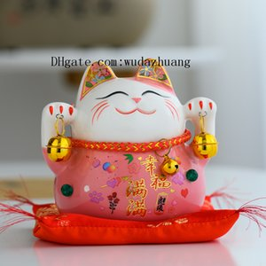5 inch ceramic Japan Eight Real Money lucky cat Ceramic Ornament Cute Fat Happy Maneki Neko Piggy Bank For Home Decor Toy Gift D1037