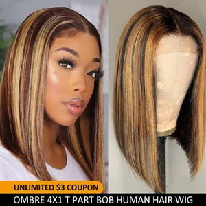 الدانتيل الباروكات مستقيم بوب إغلاق لمة تسليط الضوء البرازيلي أومبير الشعر البشري 4x1 ر جزء للنساء السود