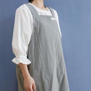 Aprons Men Women Cross Back With Pockets No Tie Restaurant Gardening Baking Artist Kitchen Apron Florist Japanese Style Home Cleaning