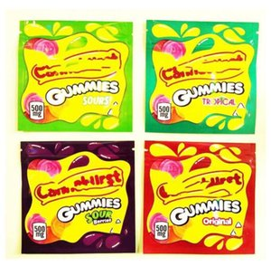 Stokta 500mg Boş Cannavurst Gummies Tropikal Şeker Paketleme Çantası Alüminyum Folyo Fermuar Sakızlı Ekşi Orijinal Berry Tropcial DFGG