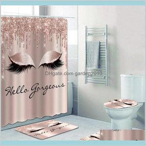Shower Curtains Bathroom Accessories Bath Home & Garden Girly Rose Gold Eyelash Makeup Curtain Set Spark Drip Eye Lash Beauty Salon De