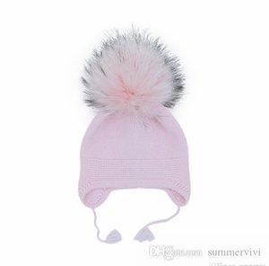 Baby kids big faux fur pompon knitted hat girls boys winter warm ear muff beanie children tassel ears protection cap Q2679