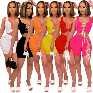 Women Designer 2 Piece Tracksuits Bandbage Shorts Summer Clothing Outfits Sexy V Neck Night Club Wear Sleeveless Crop Tops Suit