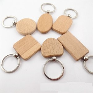 20pcs Blank Round Rectangle Wooden Key Chain DIY Promotion Pendant Wood Keychain Keyring Tags Promotional Gifts 210409