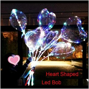 Party Decoration Heart Shaped Bobo Balloon With 315Inch Stick Valentines Day String Light Led Colorful Birthday Decor Balloons Bh1882 Qo7Iu