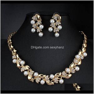 & Sets Drop Delivery 2021 Imitation Pearl Necklace Earrings Dubai Wedding Jewelry Set For Women Dresses Accessories Gold Colors Uwlop