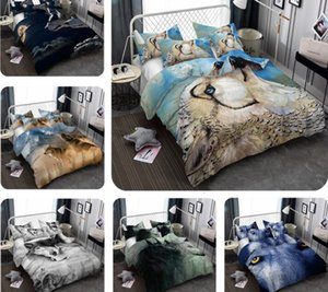 3D Wolf Printed Bedding Set Wolf Pattern Bed Clothes Comforter Cover Bed Sheet Sets Pillowcase Polyester
