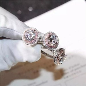 Christams Gift Stunning Luxury Jewelry 925 Sterling Silver Color Pink&White Sapphire CZ Diamond Round Cut Women Wedding Band Ring