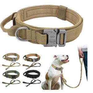 Verstellbare militärische taktische Hundekragen-Leine für mittelgroße deutsche Schäferhund-Halsbänder Nylon-Leinen-Hundezubehör