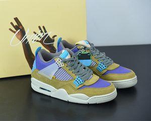 2021 الافراج عن الاتحاد X Jumpman 4 الصحراء موس 4S الأزياء الأحذية رجالي الأحذية النسائية كرة السلة أحذية رياضية في الهواء الطلق DJ5718-300