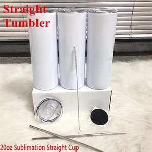 20oz Sublimation Straight Skinny Tumblers Blanks White Stainless Steel Vacuum Insulated Tapered Slim DIY 20 Oz Cup Car Mugs And Straw