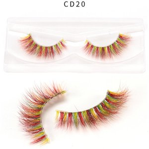 Colorful 3D Mink Eyelashes Makeup Thick Eye Lashes Cross Natural Long False Eyelashes Stage Fake Eyelash with packaging box hot