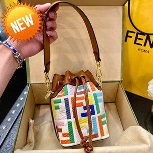 Handbags womenmon 2021 tresor drawstring embroidery bucket bag FF color canvas portable messenger bagzly