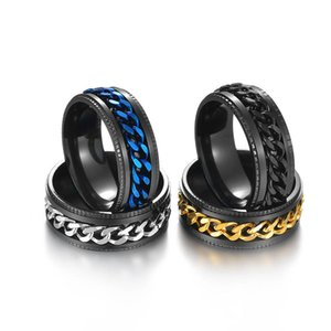 Simple stones micro-zircon ring with titanium steel twill grooved single diamond matching tail shunxin2014888 Rotable chain multi-color embossed fashion jewelry