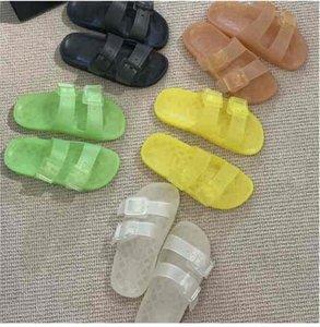 A-W 2021 Роскошный дизайнерские женские тапочки Майорка Конфеты Candy Colors Прозрачный высокопроизводительный полиуретановый модный песчанки Летняя пляжная обувь