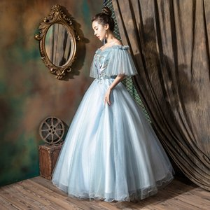 light blue bird embroidery veil butterfly sleeve ruffle ball gown Medieval Renaissance Gown queen cos Victorian dress  Antoinette  Belle ball