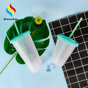 Color Chip Plastic Sippy Cup 710ml Creative Gift Color-Changing Floral Plastic Cup Cold Change Drink Cup Factory Bottle