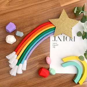 INS Nordic Rainbow Tassel Wall Hanging Figurines Ornaments Room Decoration Hair Clips Hanger Organizer Strip Kids Wind Chimes Props GHHC7093