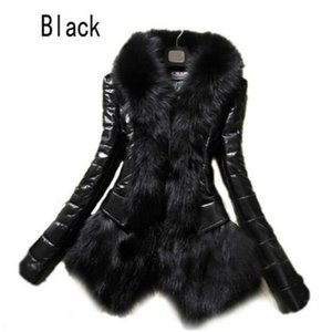Hot Women's Faux Fur Coat Leather Outerwear Snowsuit Long Sleeve Jacket Black Fashion