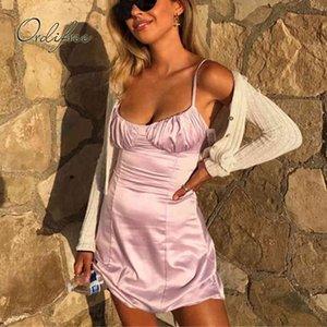 Yaz Kadın Saten Kayma Kulübü Giyim Seksi Backless Lace Up Ipek Mini Elbise 210415