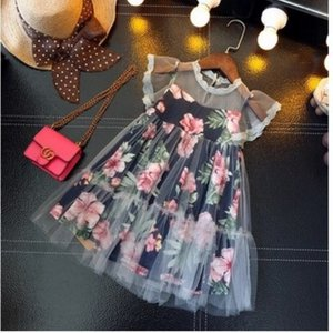 Kids Girls designers Dress Lace Floral Printed Clothing Baby Princess skirt For Summer Girl Clothes 100CM-140CM
