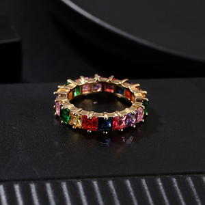Women Men 6-9 Gold Plated Rainbow Love Rings Wedding Ring Micro Paved 7 Colors Flower Jewelry Lover Gift