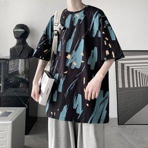 Летняя мода молодежная футболка досуг тенденция высококачественной печати круглый воротник с короткими рукавами свободно студент мужская одежда азиатский размер
