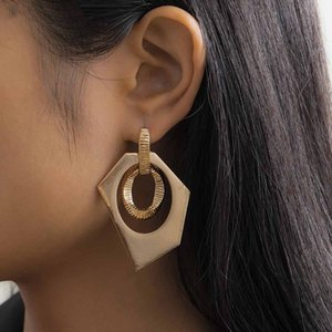 2021 Fashion Large Statement Drop Earrings Geometric Gold Color Jewelry Women Big Dangle Hanging Fashion Modern Female Earrings