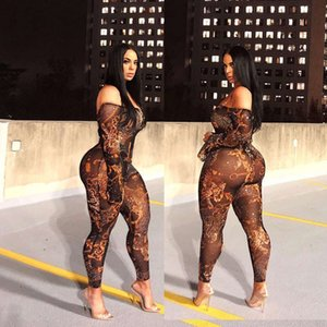 Dresses Casual M095 women's sexy perspective leopard gold chain polyester mesh positioning printing off shoulder trumpet long sleeve pants Jumpsuit