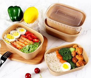 500 650 750 1000ml 300 PCS Set Disposable Dinnerware Kraft Paper Rounded Rectangle Thickened Microwave Lunch Takeaway Packing Box Bowl With Without Lids Optional