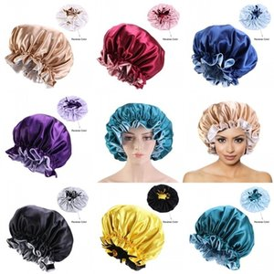Head Wrap Beanie Silk Satin Hair Bonnet Crumpled Durag Fitted Hats Round Cap Tightness Turbans Fashion Elastic Ladies Women 7 C2