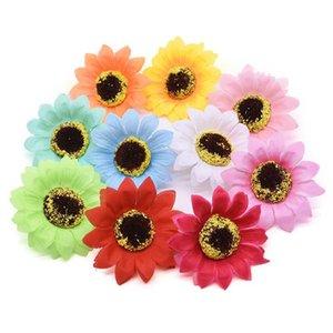 10 20pcs 7cm Silk Sunflower Head Artificial Large DIY Wreath Scrapbooking Craft Fake Flowers Wedding Home Garden Decor Decorative & Wreaths