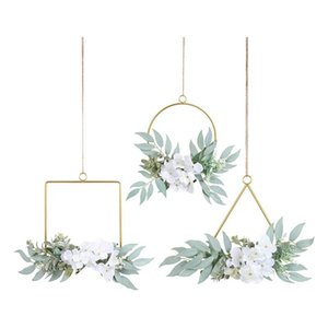 Artificial Willow Leaves Metal Hoop Wreath Set Of 3 Greenery With White Hydrangea Flower Hanging Wall Garland Decorative Flowers & Wreaths