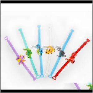 Bracelets Cartoon Animal Dinosaur Sile Charm Kids Bracelet Bang Cuff Children Gift Will And Sandy E56Fb Jyiul