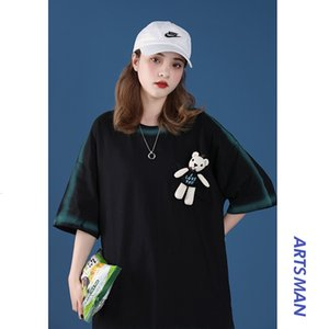 2021 Summer Youth Loose Fitting Short Sleeve Couple Bear T-shirt Fashion Color Matching Men's and Women's Casual Top