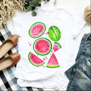 Women Lady Watermelon T Shirt Beach Fruit Flower 90s Cartoon Print Ladies Tee Womens Clothes Female Top Graphic
