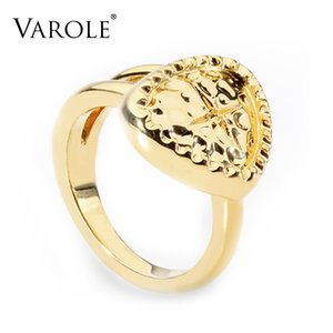 VAROLE Punk heart shape Rings For Women Gold Color Geometric Star Finger Ring Fashion Jewelry Dropshipping Anillos Mujer