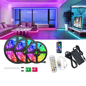 16.4 32.8 50 66ft LED Strip Light with 5050RGB LEDs Lights 5 10 15 20m Safe Epoxy Strips WIFI Voice Bluthtooth Smart Phone APP Controller Decorative Lamp Set