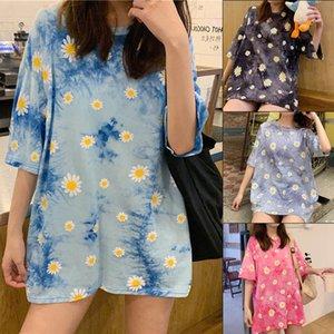 Women's T-Shirt Fashion Daisy Printed Hip Hop Tie Dye Short Sleeves Harajuku Tops 2020 Summer Tshirt Oversize Female Clothing