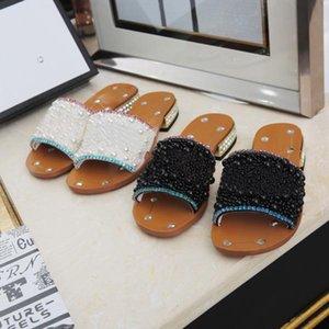 Women Rhinestone Low-heel Slippers Black Pearl Designer Work Summer Sandals Dress Shoes Classic Trend Fashion Big Size With Box Q-21