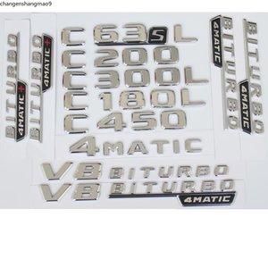 For Mercedes Benz C43 C63 C63s AMG C200 C220 C300 C320 C350 C400 4MATIC Trunk Chrome Flat Letters Emblems Badge Emblem