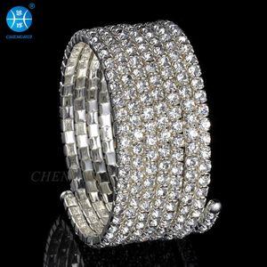 Belly dance performance jewelry shining Rhinestone arm Bracelet 7 rings Rhinestone Bracelet bride wedding dress accessor