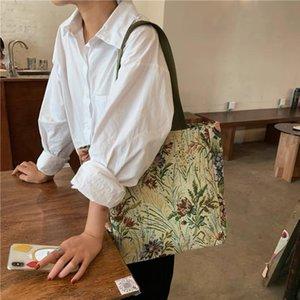 حقائب الكتف حقيبة يد المرأة حقيبة المرأة 2021 أزياء سعة كبيرة السيدات الإناث حقيبة يد التطريز