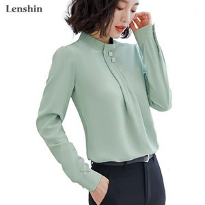 Lenshin Soft and Comfortable Shirt Long Sleeve High-quality Blouse with Diamond Office Lady Loose Style Green Top for Women1